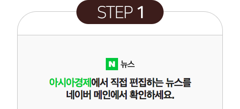 step1 아시아경제에서 직접 편집하는 뉴스를 네이버 메인에서 확인하세요.